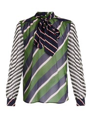 Mary Katrantzou Veddar Graphic Print Silk Chiffon Blouse Green Multi