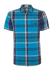 Howick Men's Powell Check Short Sleeve Shirt Blue