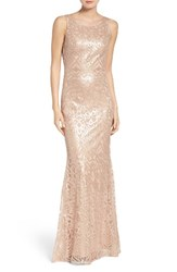 Wtoo Women's Sequin Embroidered Cowl Back A Line Gown