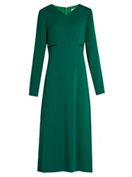 Lanvin V Neck Long Sleeved Cady Gown Green