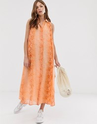 Mango Drop Hem Midi Dress In Snake Print Orange