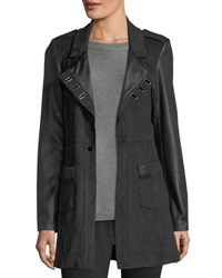 Neiman Marcus Ribbed Faux Leather Jacket Black