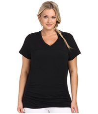 Marika Curves Plus Size Elizabeth Slimming Tee Black Women's Workout