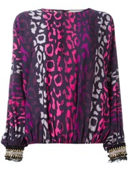 Amen Leopard Print Blouse Pink Purple