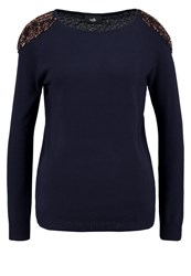 Wallis Long Sleeved Top Navy Dark Blue