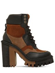 Dolce And Gabbana 90Mm Suede Leather Trekking Boots Black
