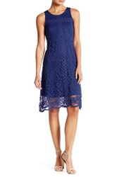 Donna Ricco Sleeveless Lace Trapeze Dress Blue