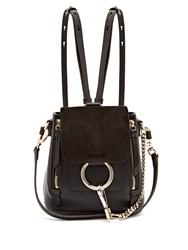 Chloe Faye Mini Suede And Leather Backpack Black