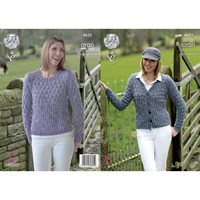 King Cole Fashion Aran Combo Women's Jumper And Cardigan Knitting Pattern 4625