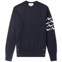Thom Browne Hector Arm Stripe Crew Knit Blue