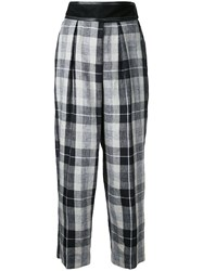 Cityshop Plaid Cropped Trousers Women Linen Flax 36 Nude Neutrals