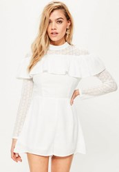 Missguided White Lace Trim Frill Front Playsuit