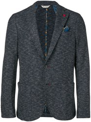 Manuel Ritz Lapel Button Blazer Blue