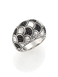 John Hardy Naga Black Sapphire And Sterling Silver Dome Ring Silver Black