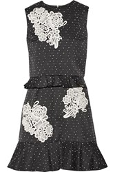 Erdem Talia Appliqued Polka Dot Cotton Blend Mini Dress Black