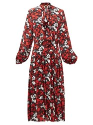 N 21 No. Pussy Bow Floral Print Crepe Dress Black Red