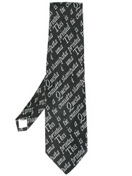 Moschino Vintage Quote Intarsia Knit Tie Black