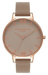 Olivia Burton Women's Go For Griege Leather Strap Watch 38Mm