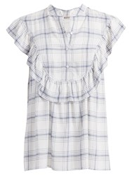 Max Studio Sleeveless Checked Blouse Ivory Navy