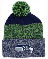 47 Brand '47 Seattle Seahawks Static Cuff Pom Knit Hat Navy Lime Gray