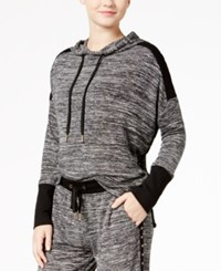 Material Girl Juniors' Marled French Terry Hoodie Black