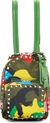 Valentino Green Psychedelic Camouflage Mini Rockstud Backpack