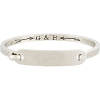 Id Tag With Hinge Cuff' Bracelet Silver