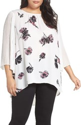 Vince Camuto Plus Size Women's Pleat Chiffon Sleeve Blouse