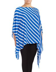 Vince Camuto Plus Striped Boatneck Poncho Blue