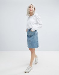 Weekday Decon Knee Length Denim Skirt With Raw Hem Spring Blue