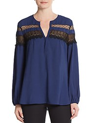 Nanette Lepore Clear Skies Lace Striped Blouse Indigo