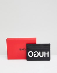 Hugo Exploded Logo Leather Card Holder In Black