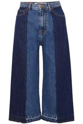 Mcq By Alexander Mcqueen Woman Two Tone Denim Culottes Mid Denim