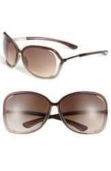 Women's Tom Ford 'Raquel' 63Mm Oversized Open Side Sunglasses Transparent Bronze
