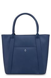 Vessel Signature 2.0 Large Faux Leather Tote Bag Blue Pebbled Navy