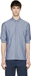 Kris Van Assche Blue Chambray Gathered Sleeve Shirt