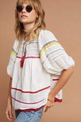 Anthropologie Rockaway Peasant Top White