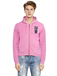 Dsquared Dog Patch On Zip Up Cotton Sweatshirt Pink
