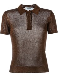 Msgm Metallic Short Sleeve Jumper