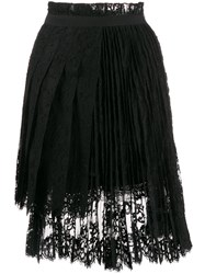 Ermanno Scervino Pleated Lace Skirt Black
