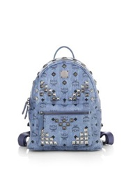 Mcm Stark 'M' Stud Small Coated Canvas Backpack Blue