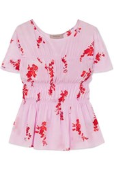 Preen Line Lilou Ruched Floral Print Crepe De Chine Top Pink