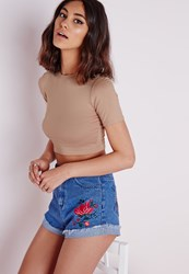 Missguided Capped Sleeve Jersey Crop Top Taupe