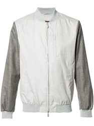Eleventy Contrast Bomber Jacket Nude Neutrals