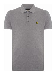 Lyle And Scott Short Sleeve Plain Pique Polo Mid Grey Marl