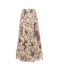 Valentino Printed Pleated Cotton Maxi Skirt Beige