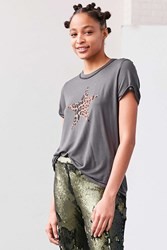 Truly Madly Deeply Leopard Star Tee Washed Black