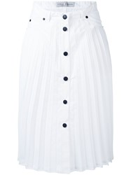 Veronique Branquinho Pleated Button Up Skirt Women Cotton Polyester 40 White