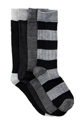 Lucky Brand Rib And Stripe Crew Socks Pack Of 4 Black