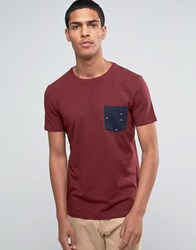 Esprit Crew Neck T Shirt With Printed Pocket Burgundy Red